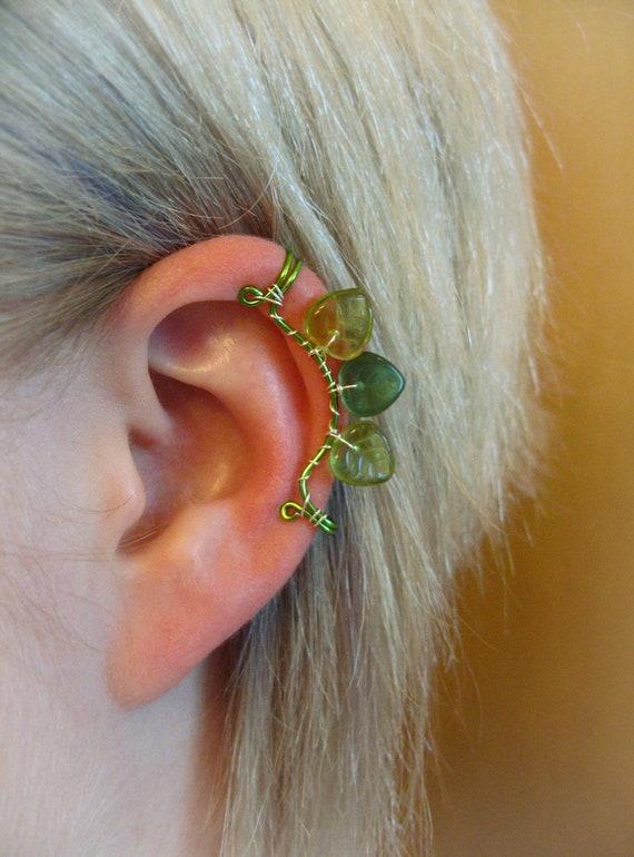 Legolas The Mirkwood Collection Elvish Ear Cuff left ear leaf leaves green sterling silver forest woodelf Tolkien LOTR
