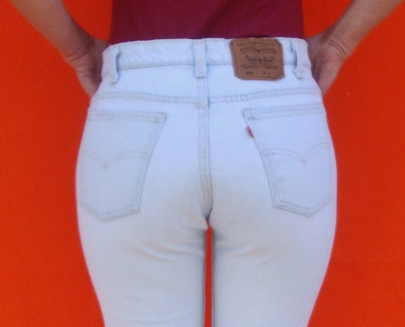 Vintage High Waisted Jeans Levis 80s White Wash Womens Orange