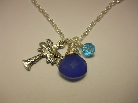 Wire Wrapped Blue Chalcedony Pendant With Charm And Crystal