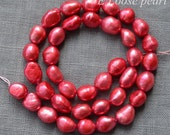 Baroque pearl,Large hole pearl Freshwater Pearl,Pebble pearl,Loose pearls Baroque pearl necklace 7.5-8.5mm Red 35pcs Full Strand PL3081