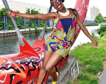 Red Diamond African Print Wrap Over Playsuit