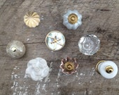 Eclectic Collection of 8 (Eight) Knobs / Reflection Collection / Brass, Glass, Ceramic and Mother of Pearl