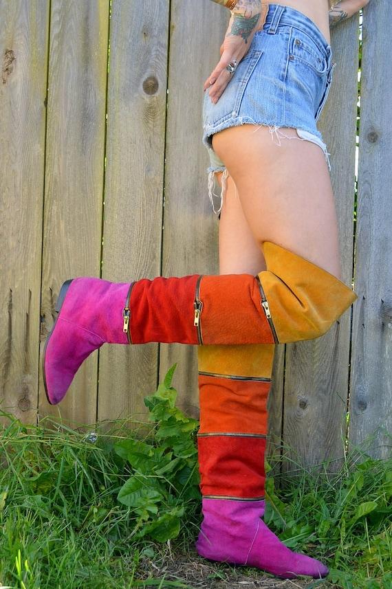 80's Rhythm Nation Thigh High Rainbow Suede Boots Zipper Boots, 7