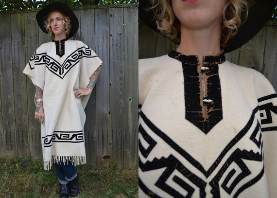Authentic Early 1900's Spaghetti Western Wool and Velvet Cowboy Poncho