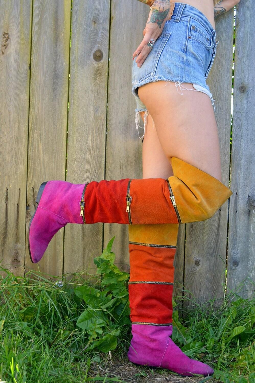 80 S Rhythm Nation Thigh High Rainbow Suede Boots Zipper