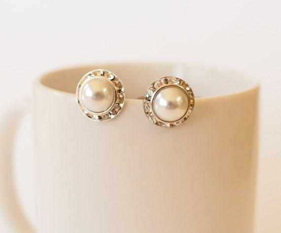 Wedding pearl earrings, bridal post earrings , cubic zirconia