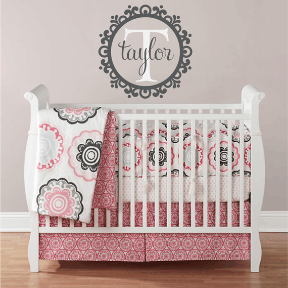 Name and Initial Vinyl Wall Decal Whimsical Border Personalized Monogram Wall Decal Girl Baby Nursery Room Wall Art 22Hx22W FS242