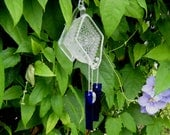 Pitcher This Vintage Sandwich Glass Creamer with Crystal Heart and Cobalt Blue Glass Wind Chimes, Depression Glass Yard Art, Garden Decor