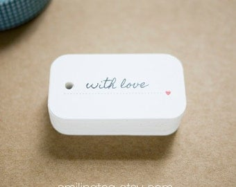 With Love Gift Tags - Wedding Favor Tags - Thank you tags - Hang tags - Gift Tags - Swing Tags - Set of 40 (Item code: J260)