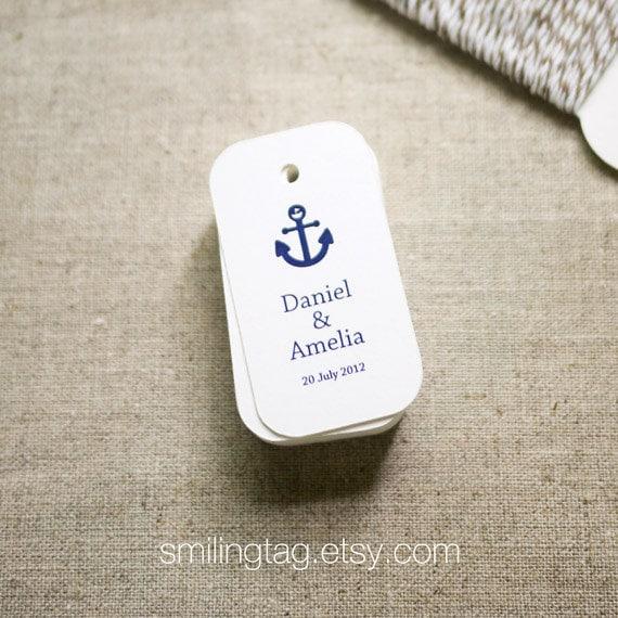 Wedding Favor Tags Beach : Nautical Theme in Navy Blue Wedding Favor Tags Beach Wedding