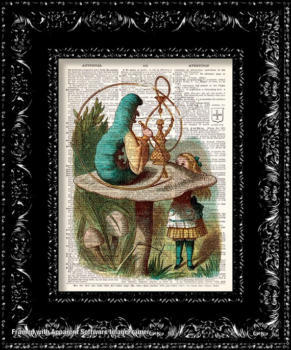 Alice In Wonderland Blue Caterpillar Vintage Dictionary Print Vintage Book Print Page Art Upcycled Vintage Book Art