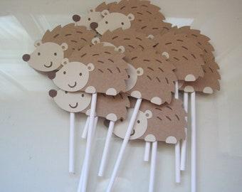 12 hedgehog cupcake toppers