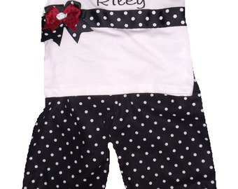 Boutique Ladybug Birthday or Big Sister Shirt and  Dot Pant Set Sizes 3M to 8 youth