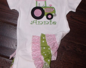 Boutique Ruffled Bodysuit with Green and Pink Tractor Sizes Newborn to 24M