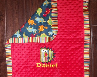 Boutique Boy's Dinosaur Themed Carseat, Stroller or Lovey Blanket