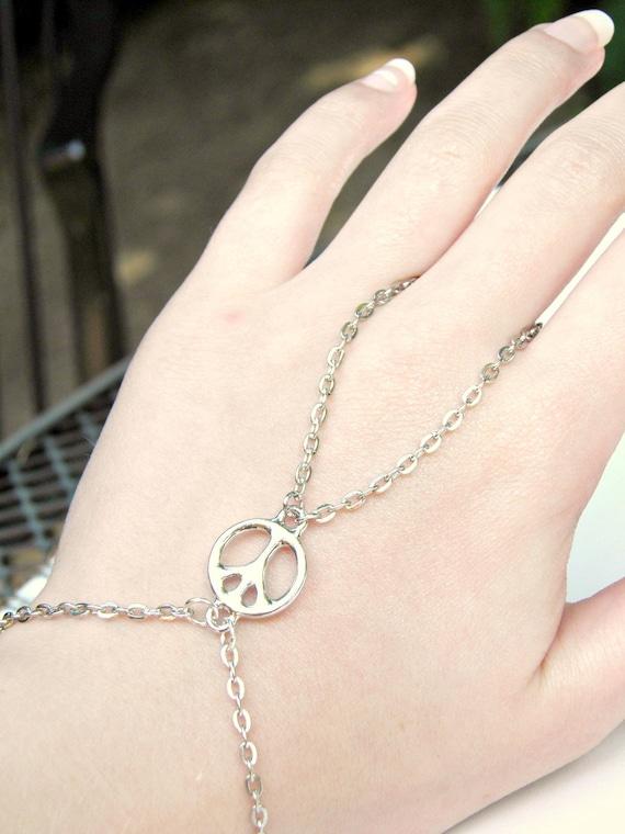 Peace Sign Silver Slave Bracelet Ring Hippie Charm Ring Bracelet Hand Harness