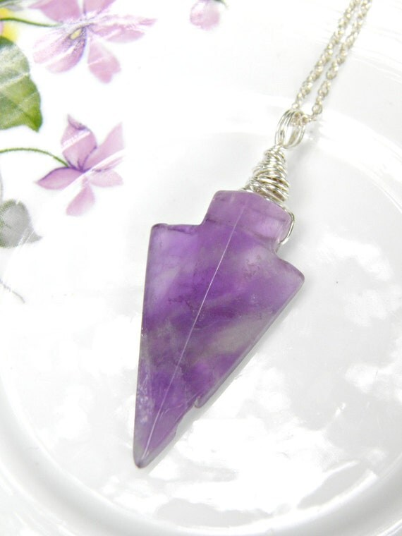 Amethyst Necklace Sterling Silver Amethyst Necklace Gemstone Arrow Necklace Purple Gemstone Jewelry