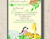 Printable Baby Shower Invitation and Thank You Card - Safari Baby Animals
