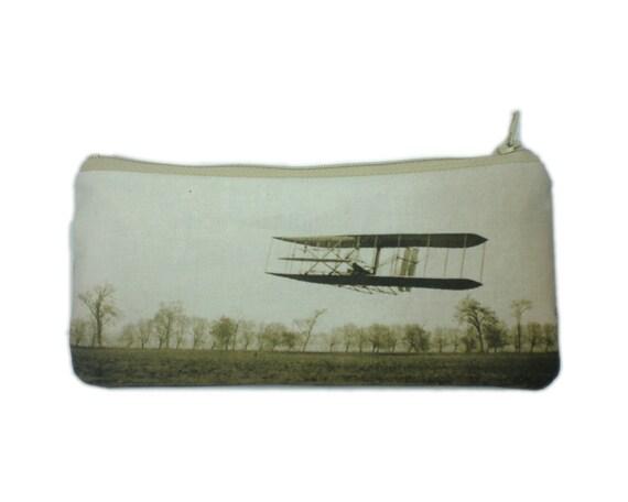 Wright flyer zipper pouch vintage airplane pencil case