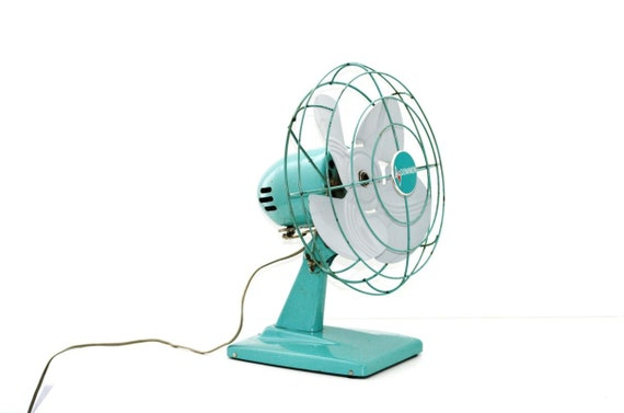 Industrial Chic Vintage Fan Aqua Blue Home Decor Price Drop