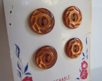 Bronze Colored Vintage Lansing Buttons on Card