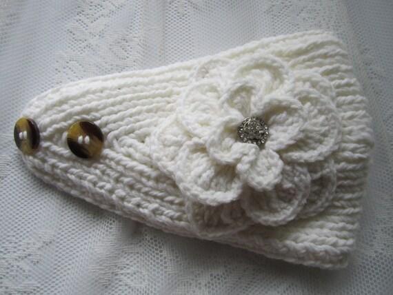 White IvoryKnit Headband Ear Warmer with Crochet by ...