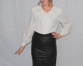 VINTAGE 80's High waist black leather  pencil secretary  skirt size S Made by Limited Express Winter fashion Christmas gift  Ready to ship.