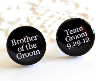 Brother of the groom, Silver team groom custom date cufflinks, timeless mens jewelry keepsake gift, classic cuff link accessories