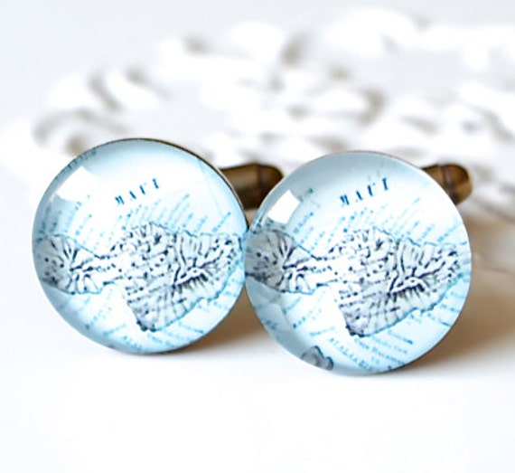 Maui Map Cufflinks - brass cuff links with vintage Hawaii Island map - Hawaiian mens accessories