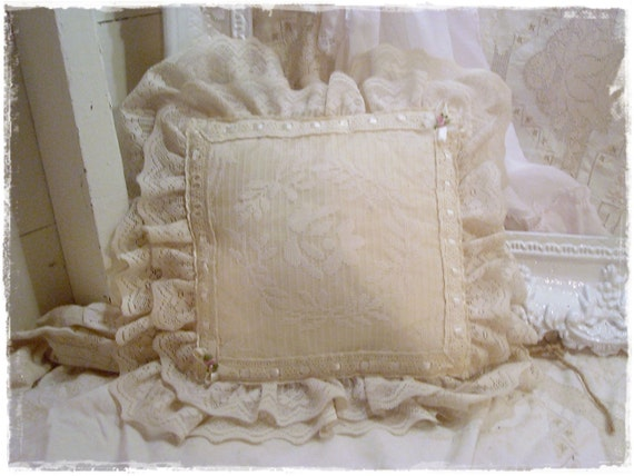 Vintage Shabby Pillow Heirloom White Lace by AnnClarkInteriors