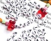 50 grams of White Alphabet Acrylic Beads