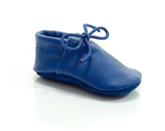 Lambswool lined royal blue handmade leather shoes for baby, toddler and children