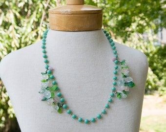 Floral Clusters Turquoise Bead Necklace
