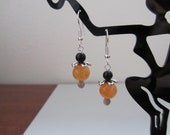 SALE - Golden CreamQuartz with Black Obsidian Earrings - No Coupon Required