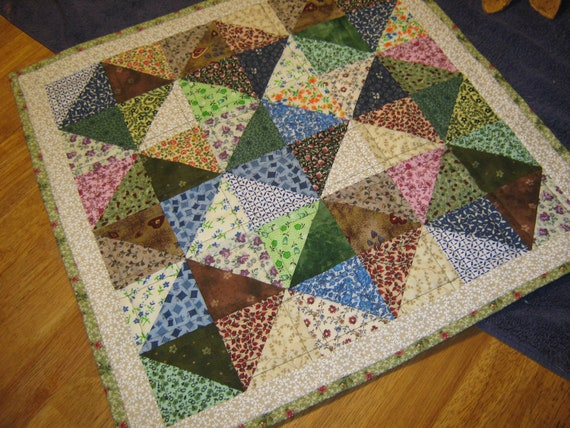 "PATCHWork Lg VARIETY Scrappy  20 1/2"" Square Double-Sided Table Mat Quilted Runner Candle Country FolkArt Primitive"