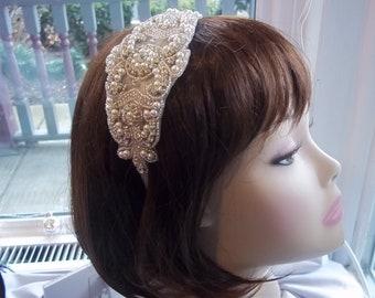 Bridal Headband - Art Deco Glam 1920s Wedding -  Gatsby Bride - Glitz - Vintage Style - 1920s Headpiece - Flapper Bride