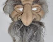Sculpted Wool Art  Mask OLD MAN (Wizard Hobbit Troll)  Festivals Halloween Performers Theatre OOAK Costume