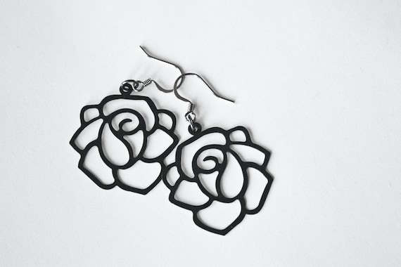 Black Metal Rose Dangles