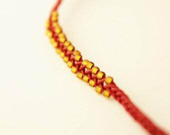 red leather bracelet gold beaded bracelet woven leather friendship bracelet