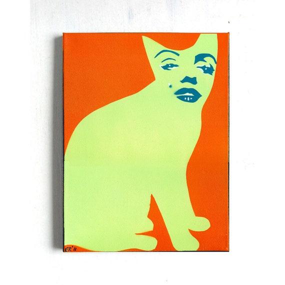 SALE cat art portrait modern pop art Marilyn Monroe homage to Warhol  ORIGINAL PAINTING by Elizabeth Rosen