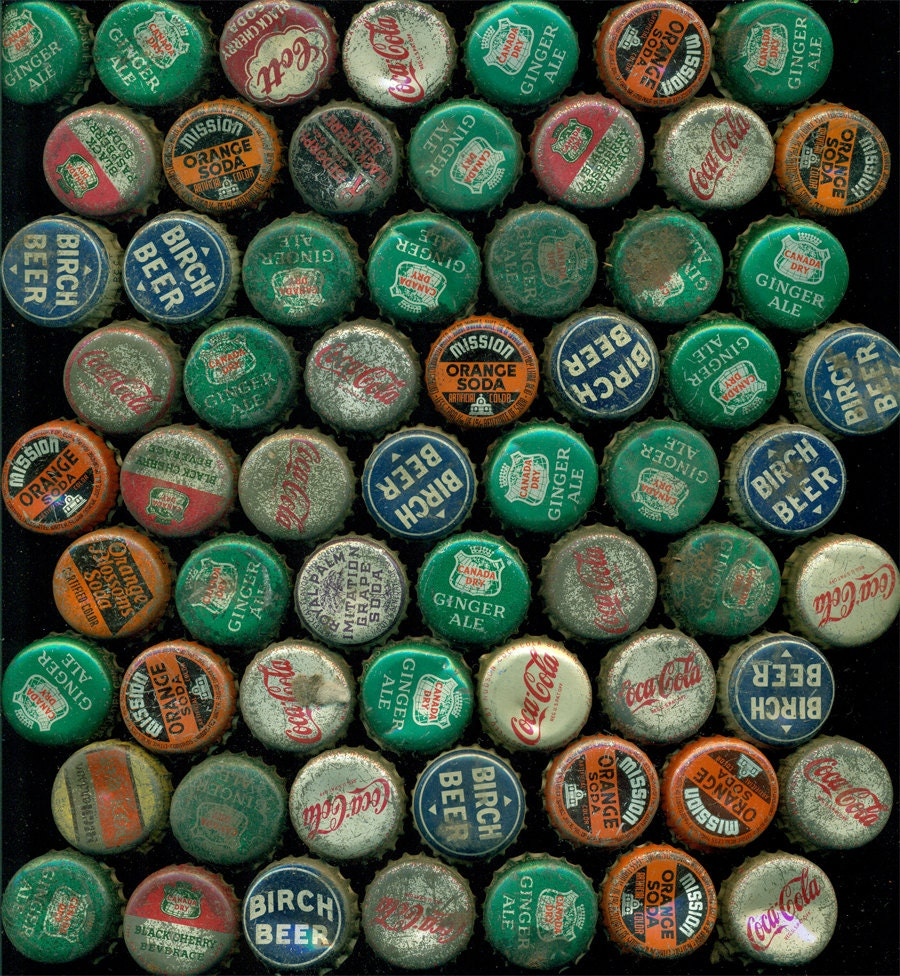 63 vintage soda bottle caps rusty offered by by