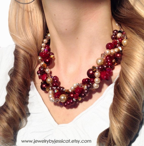 PETITE TWISTED, Statement Necklace, Burgundy, Gold, Champagne, Ivory, Fall, Red, Chunky, Multi-strand, Bridal, Jewelry by Jessica Theresa
