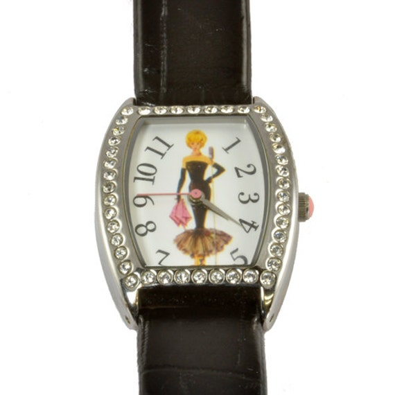 Collectible Barbie Watch with Rhinestone Bezel - Barbie at the Microphone