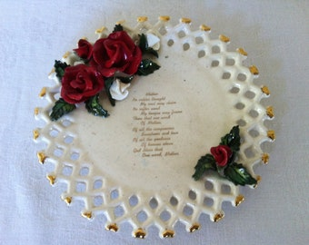Mothers Poem - Vintage Ceramic Wall Plate - Red Roses