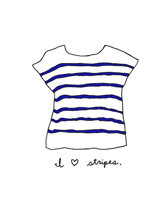 The Striped Tshirt - 8x10 Illustration Art Print