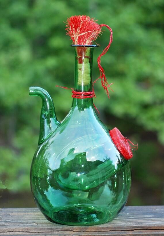 Vintage Princess House Hand Blown Green Italian Wine Chiller