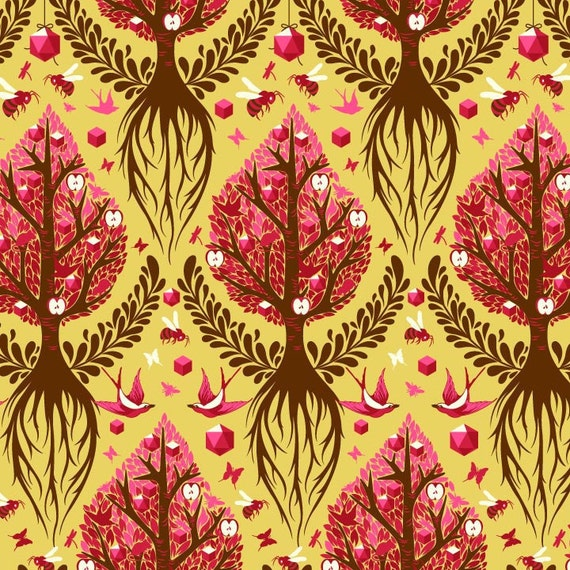 Tula Pink for Free Spirit, The Birds & The Bees, Tree of Life in honey,1 yard