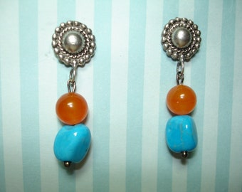 Pewter Post Dangle Earrings - Turquoise Blue asymetrical chunky beads - Orange round glass beads