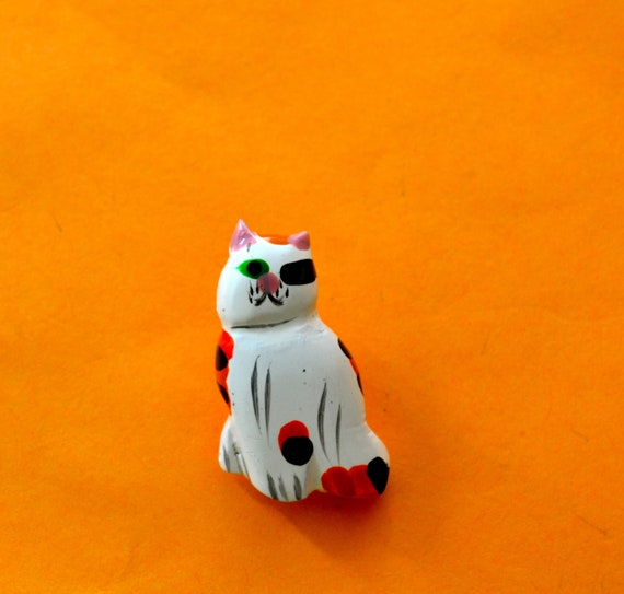 Painted Cat PIN, Black & White Enamel, Painted Wood, Vintage Accessory, Clearance Sale