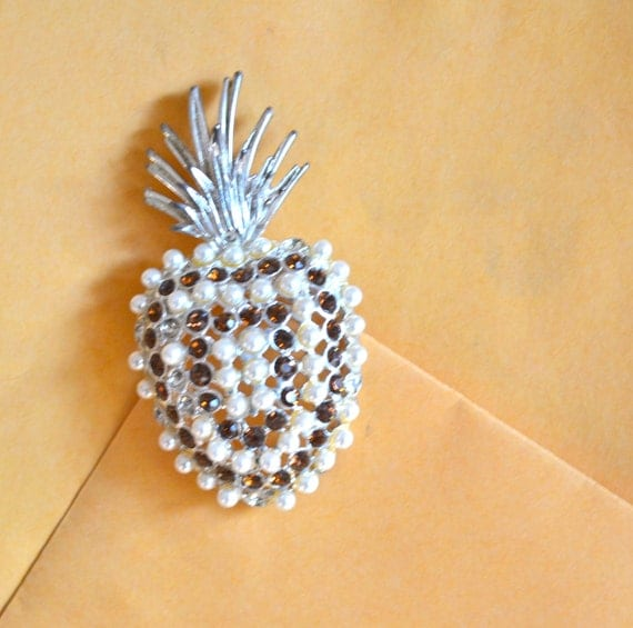 Pineapple Shape BROOCH, Faux Pearls,  Rhinestones, Antique Silver Tone, Clearance Sale